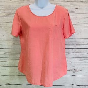 Chico's Coral Pullover Blouse Shirt Size 8-10
